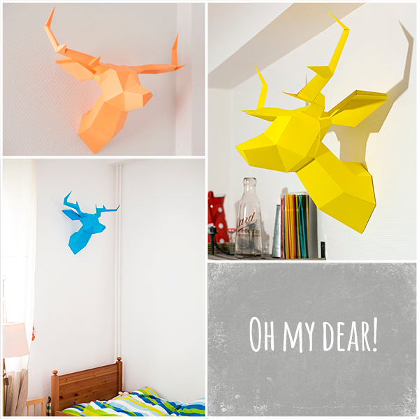 These Origami Style Deer Head Trophies Are Fun Foldeer Available In A Selection Of Bright Colours And Would Look Great Any Kids Room